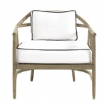 LFU-007 Linen White Fabric Cushion Chair by Beech wood structure