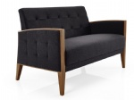 LFS-014 Fully Fabric Upholstered Love seat Sofa in Ash wood frame