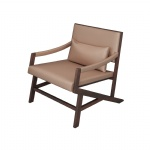 LFDA-011 Leisure Chairs for Lobby seating furniture of Ash wood frame with Leather upholstered cushion