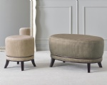 LFFB-001 Oval Bench by Fabric Upholstered with Wood legs